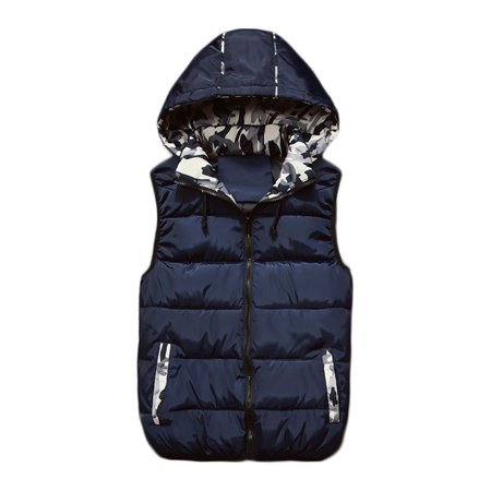 Mens Quilted Thicken Puffer Vest Removable Hooded Padded Winter Warmer Gilet Vest Outerwear Sleeveless Waistcoat Jacket