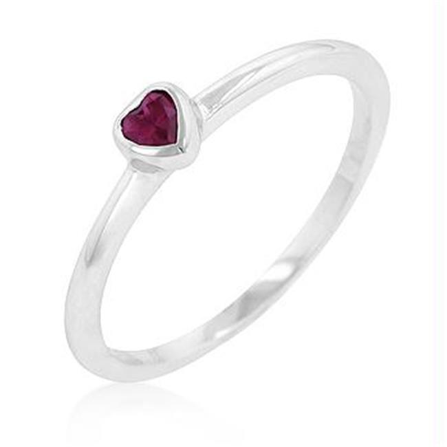 Ruby Red Heart Solitaire Ring, <b>Size :</b> 07