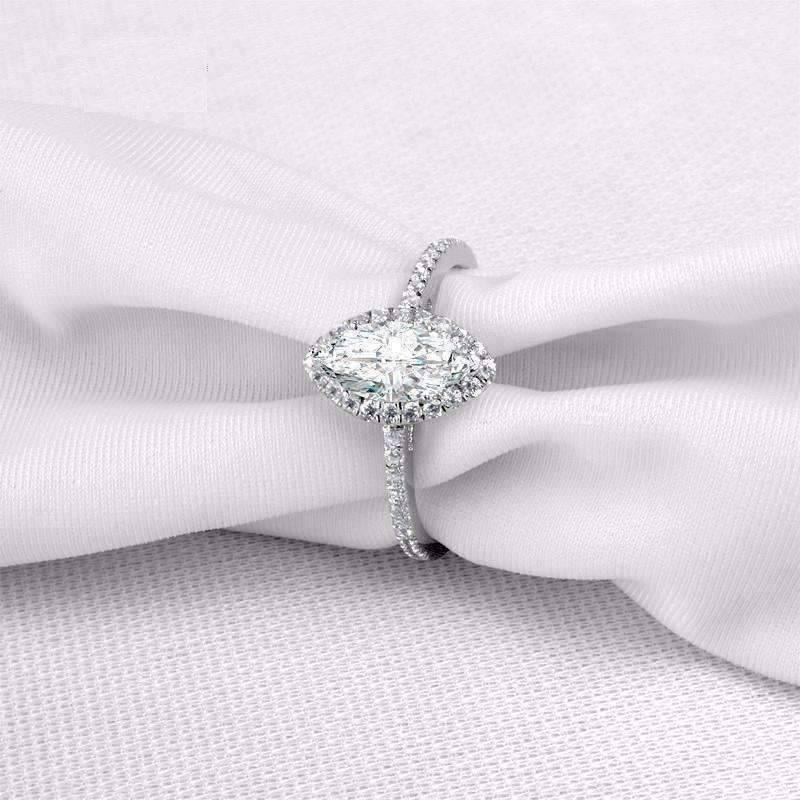 Details about  /1 Ct Halo Solitaire Cubic Zirconia Promise Engagement Ring 925 Sterling Silver