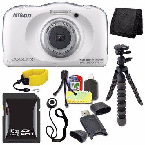 Nikon COOLPIX S33 Digital Camera (White) (International Model No Warranty) + 16GB SDHC Card + Floating Strap + Mini Flexible Tripod + Card Reader + Card Wallet + Lens Cap Keeper + Saver Bundle