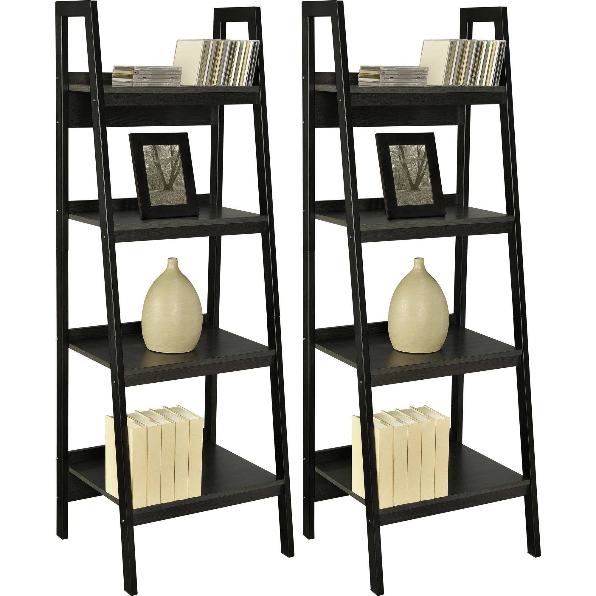 Ameriwood Home Lawrence 4 Shelf Ladder Bookcase Bundle Black Set Of 2