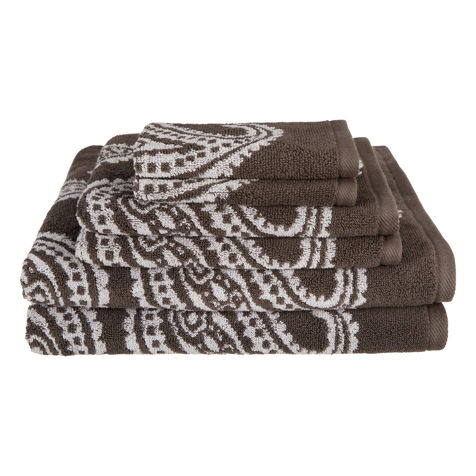 Superior Long-Staple Combed Cotton Loops Paisley 6 Piece Towel Set