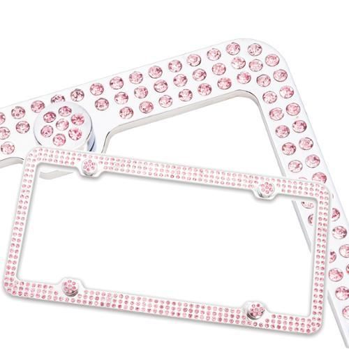 Crystal Rhinestone Triple Row Metal License Plate Frame Screws & Bling Caps