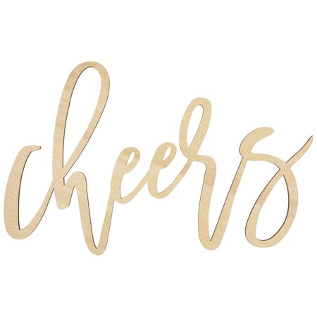 Koyal Wholesale Cheers Bar Sign, Scripted Laser Cut Wood Sign for Wedding, Bridal Shower, Bachelorette, Engagement