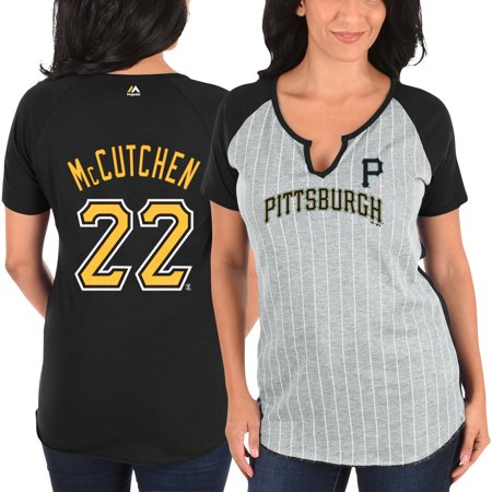 Andrew McCutchen Pittsburgh Pirates Majestic Women's From the Stretch Pinstripe Name & Number T-Shirt - Gray/Black
