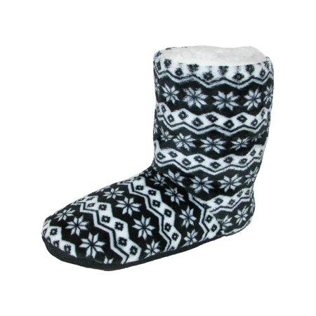 Women's Nordic Pattern Slipper Bootie,  Black (Cinderella Glass Slippers For Women)