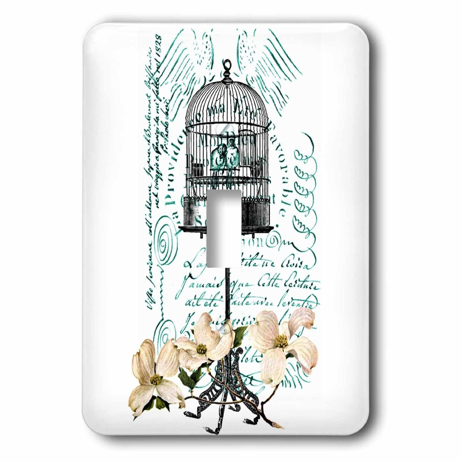 Image of 3dRose Dogwood Flowers with Birds in Bird Cage, Single Toggle Switch