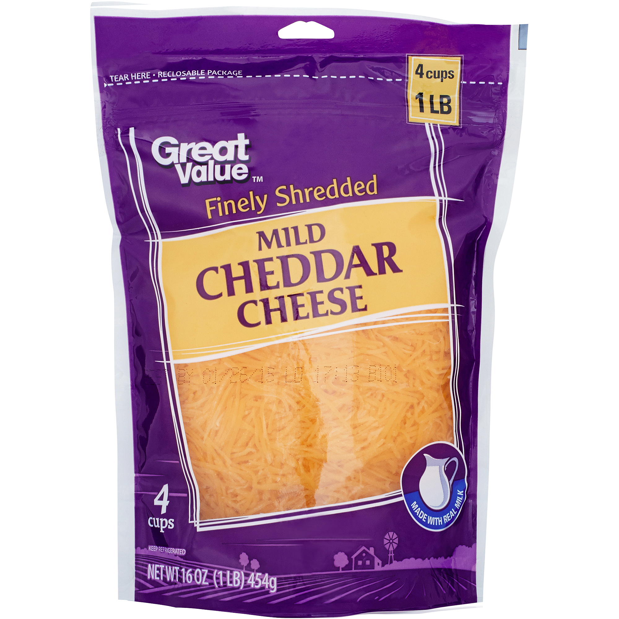 Great Value Finely Shredded Mild Cheddar Cheese, 16 oz