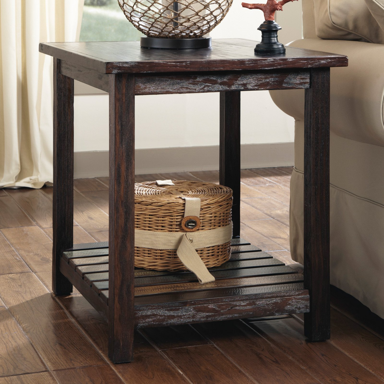 Charming Signature Design By Ashley Mestler Brown Rectangular End Table