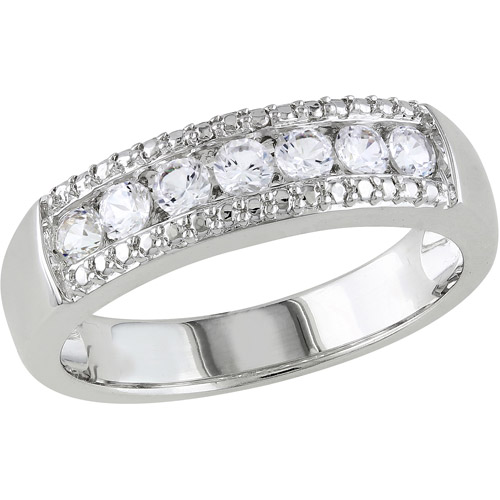 Miabella 5/8 Carat T.G.W. Created White Sapphire Sterling Silver Wedding Ring