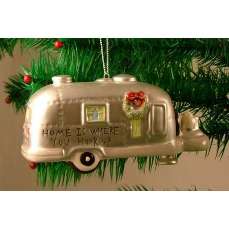 Silver RV Camper Trailer Camping Christmas Ornament