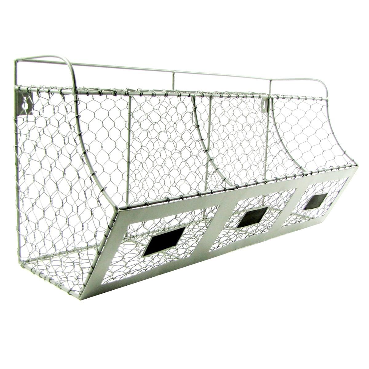 Treasure Gurus Rustic Chicken Wire Wall Storage 3 Bin Basket Primitive  Country Farmhouse Decor   Walmart.com