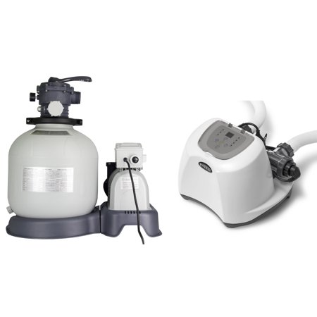 Saltwater System - Intex Krystal Clear 3000 GPH Sand Filter Pool Pump w/ 15000 Gal Saltwater System