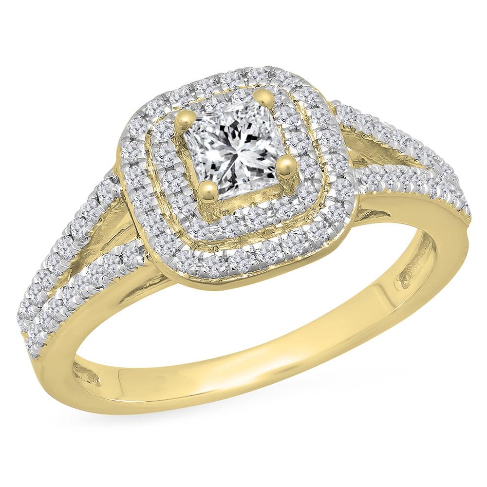 1.00 Carat (Ctw) 18K Yellow Gold Princess & Round Cut White Diamond Ladies Split Shank Halo Bridal Engagement Ring 1 CT