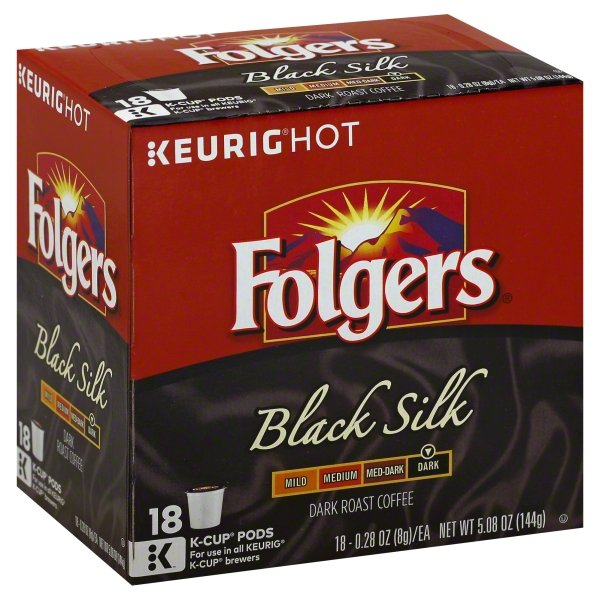 Folgers Black Silk Coffee, Dark Roast, K-Cup Pods for Keurig K-Cup Brewers, 18 Count