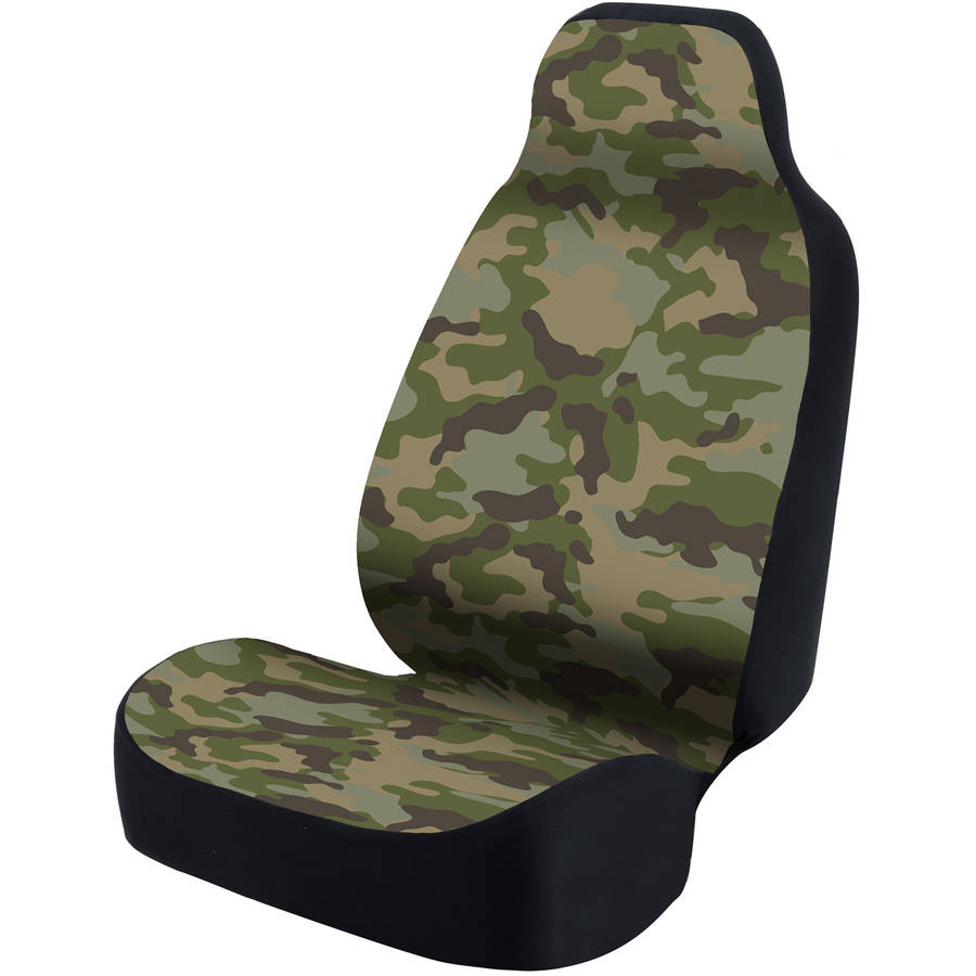 Coverking Universal Printed Seat Cover, Ultra Suede Traditional Camo Jungle Green