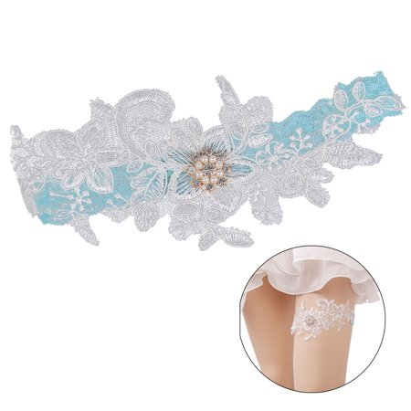 Womens Bridal Wedding Garter Elastic Rhinestone Artificial Pearl Lace Garter for Prom Party