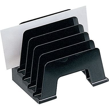 1InTheOffice Plastic Incline Desktop File Sorter, 5 Compartments, Black - image 3 of 3