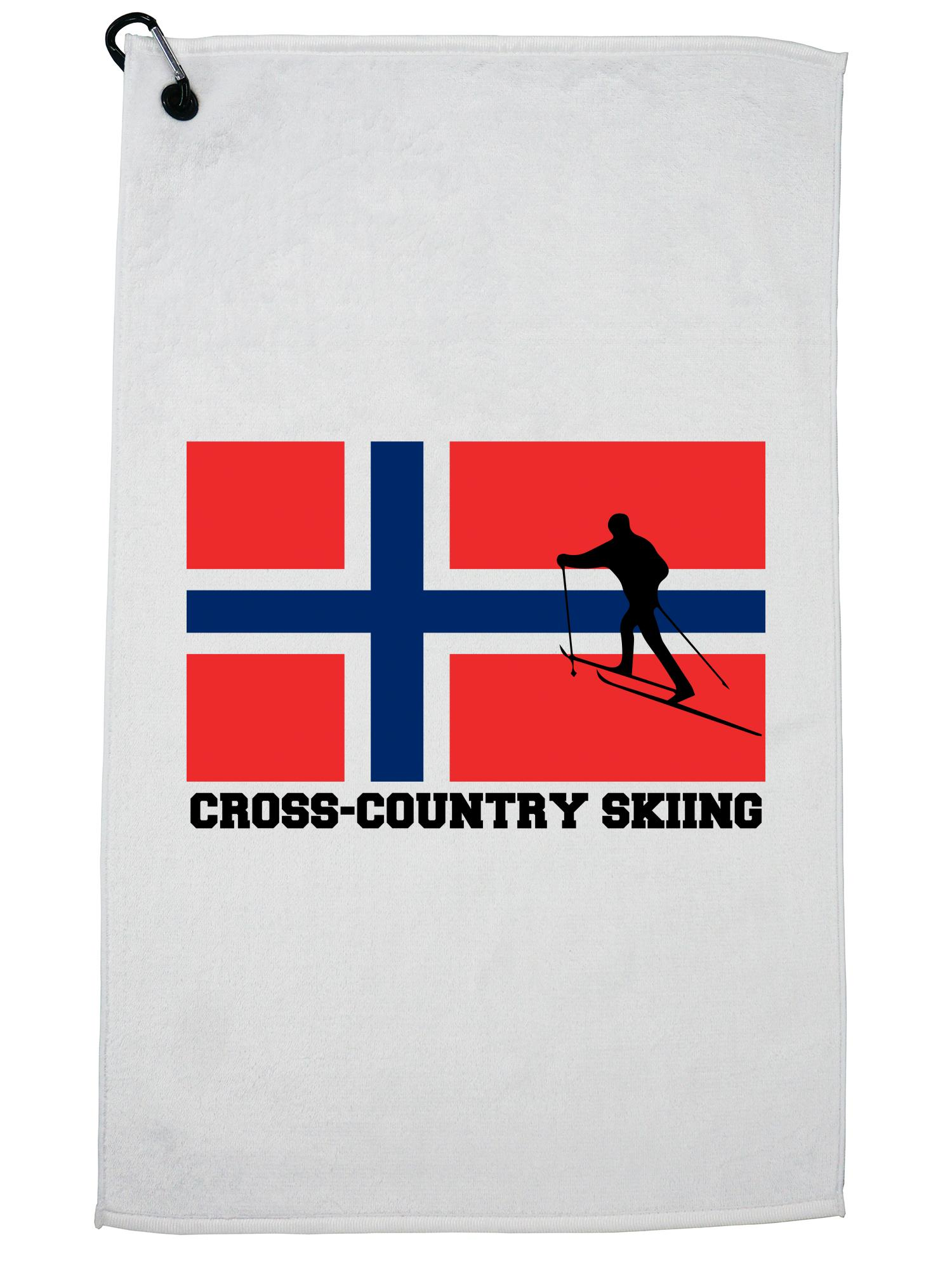 Norway Olympic Cross-Country Skiing Flag Silhouette Golf Towel with Carabiner Clip by Hollywood Thread