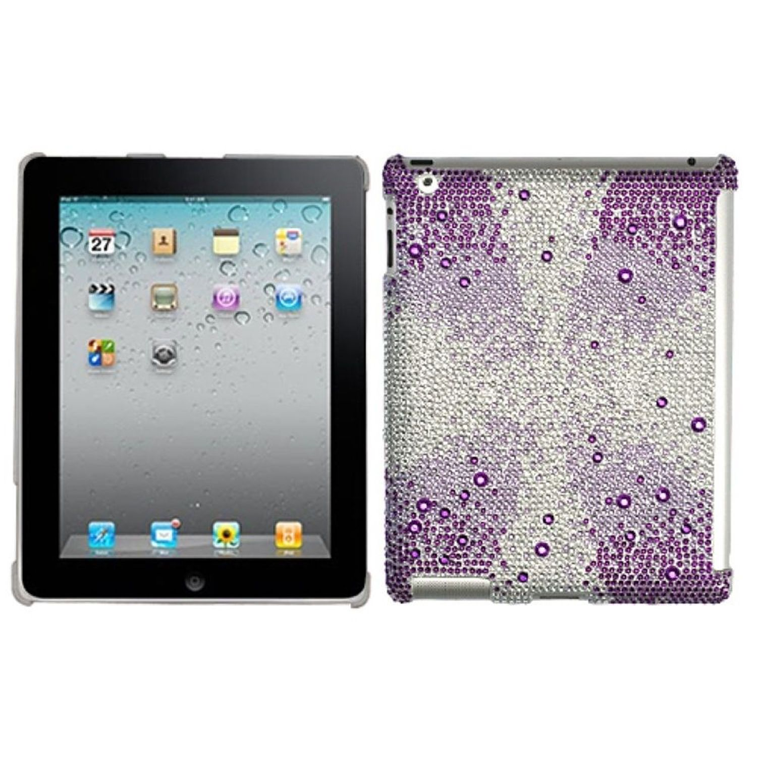 insten purple starburst gem gradients diamante smartslim back case for apple ipad 2 / 3 / 4 (w/ retina display)