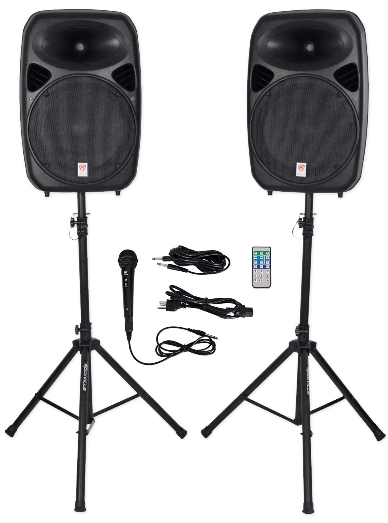 "Rockville RPG152K Dual 15"" Powered Speakers, Bluetooth+Mic+Speaker Stands+Cables by ROCKVILLE"