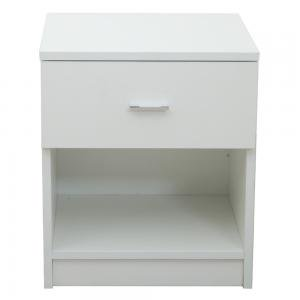 1 Drawer Metal Handle Bedside Cabinet Night Table White