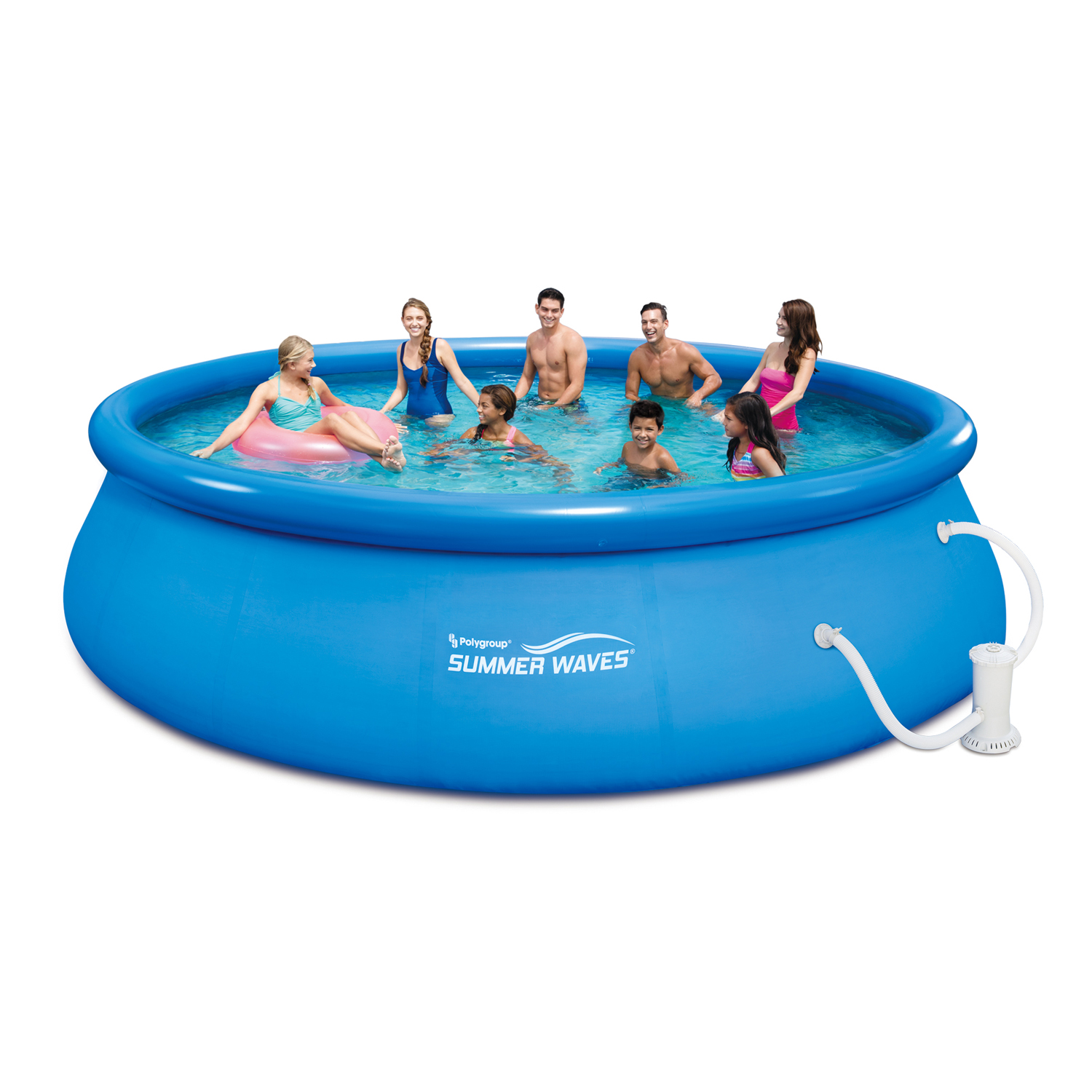"Summer Waves 16' x 48"" Quick Set Above Ground Swimming Pool with Filter Pump System And Deluxe Accessory Set"