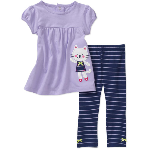 Child of Mine Carters Newborn Girls' 2-Piece Kitty Top and Pant Set