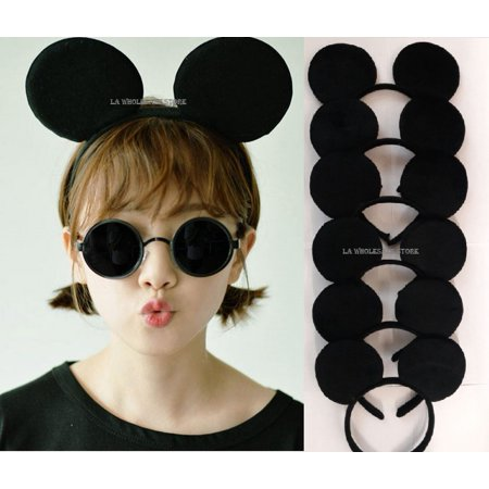 LA Wholesale Store - Mickey Minnie Mouse Costume Deluxe Fabric Ears Headband *Set of 12* (Mickey) + FREE Temporary Body Tattoo!! - Frozen Mickey Ears