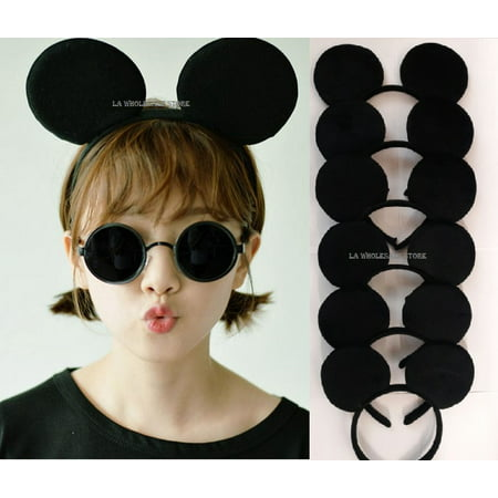 LA Wholesale Store - Mickey Minnie Mouse Costume Deluxe Fabric Ears Headband *Set of 12* (Mickey) + FREE Temporary Body - Custume Stores