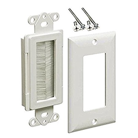 iMBAPrice 1-Gang Brushed Wall Plate - Decora Style Cable Pass Through Insert for Wires Wall Socket Plug Port/HDTV/HDMI/Home Theater Systems and More - White