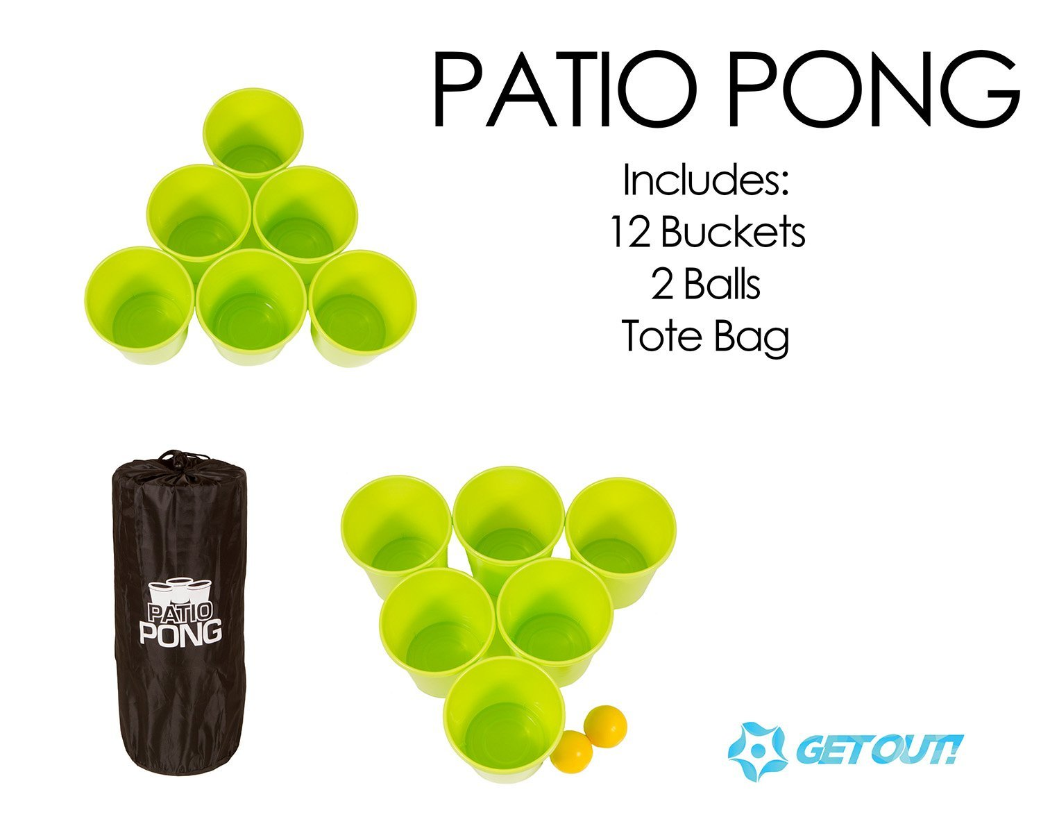 Get Out Giant Yard Beer Pong Set for Outdoor Fun 12 Buckets 2 Balls Patio Pong 1 Drawstring Carrying Bag