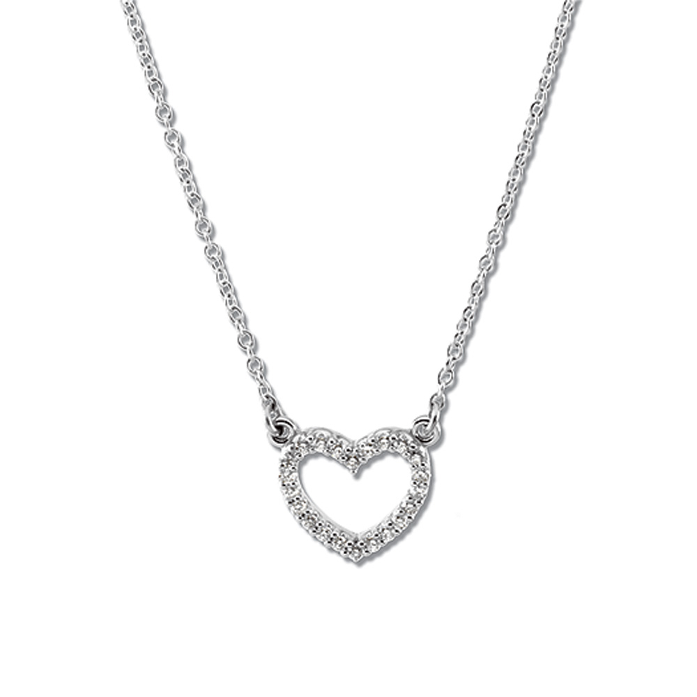 1 8 ct tw Platinum Diamond Heart Necklace by Black Bow Jewelry Company