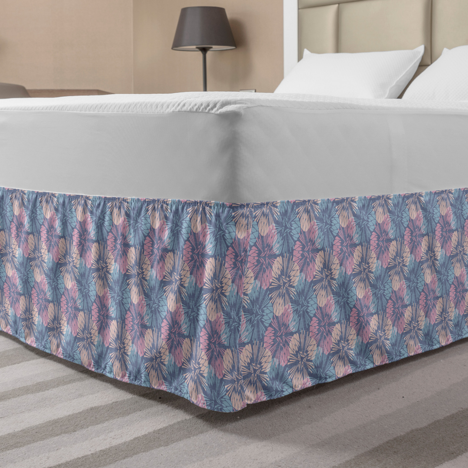 Flower Bed Skirt Abstract Colorful Dandelion Pattern With Striped Background Burlap Inspired Design Elastic Bedskirt Dust Ruffle Wrap Around For Bedding Decor 4 Sizes Multicolor By Ambesonne Walmart Com Walmart Com