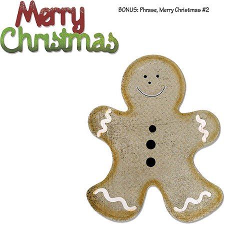 (Sizzix Bigz Die with Bonus Sizzlits Die, Gingerbread Man and Merry Christmas, Grey)
