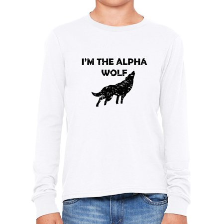 - I'm The Alpha Wolf - Wolf Howling at Moon Graphic Girl's Long Sleeve T-Shirt