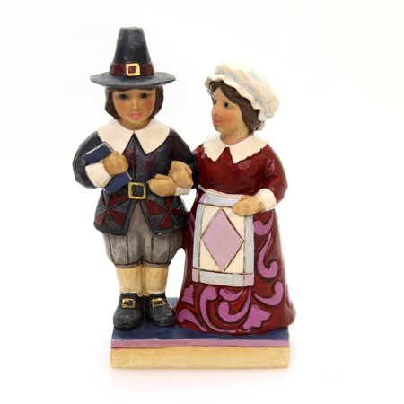 Jim Shore MR. & MRS. PILGRIM MINI Polyresin Thanksgiving 4058844 (Pilgrim Figurines)