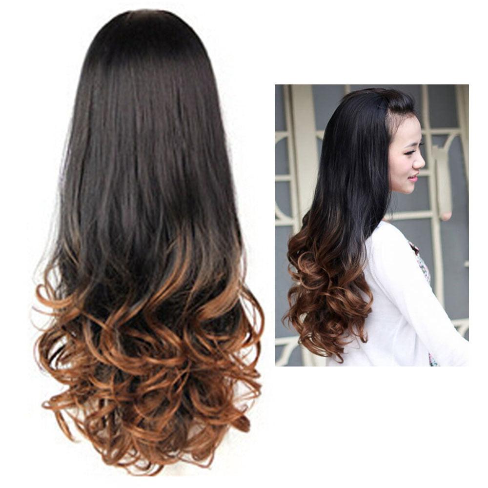 Big Wave Human Hair Wigs Long Curly Wavy Full Hair Wigs Heat