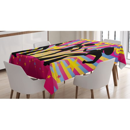 70s Party Decorations Tablecloth, Dancing People Silhouettes with Afro Hair Disco Party Funky Display, Rectangular Table Cover for Dining Room Kitchen, 52 X 70 Inches, Multicolor, by (70's Hair)