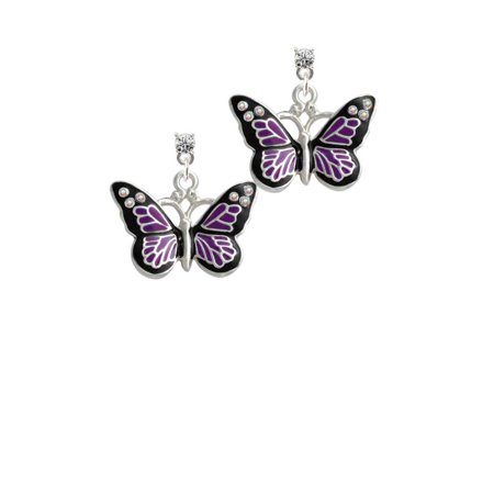 Silvertone Large Purple Butterfly with 6 AB Crystals Clear Crystal Post Earrings