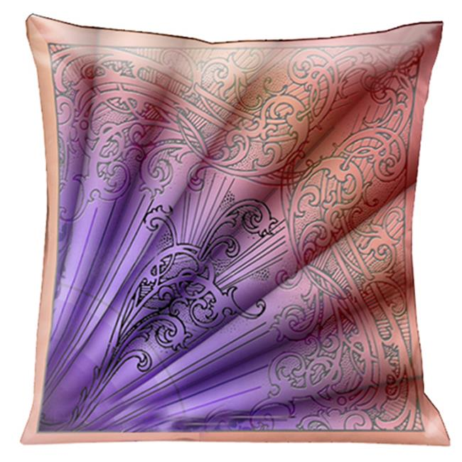 lama kasso 200-1 parisian fan design in tangerine shades of pink and mauve 18 in. square satin pillow