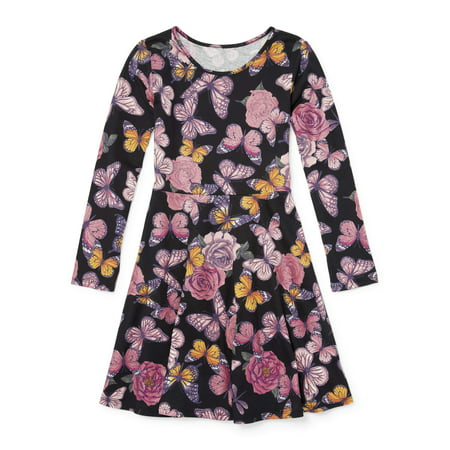 Long Dress Girl (The Children's Place Glitter Butterfly Long Sleeve Knit Dress (Little Girls & Big)