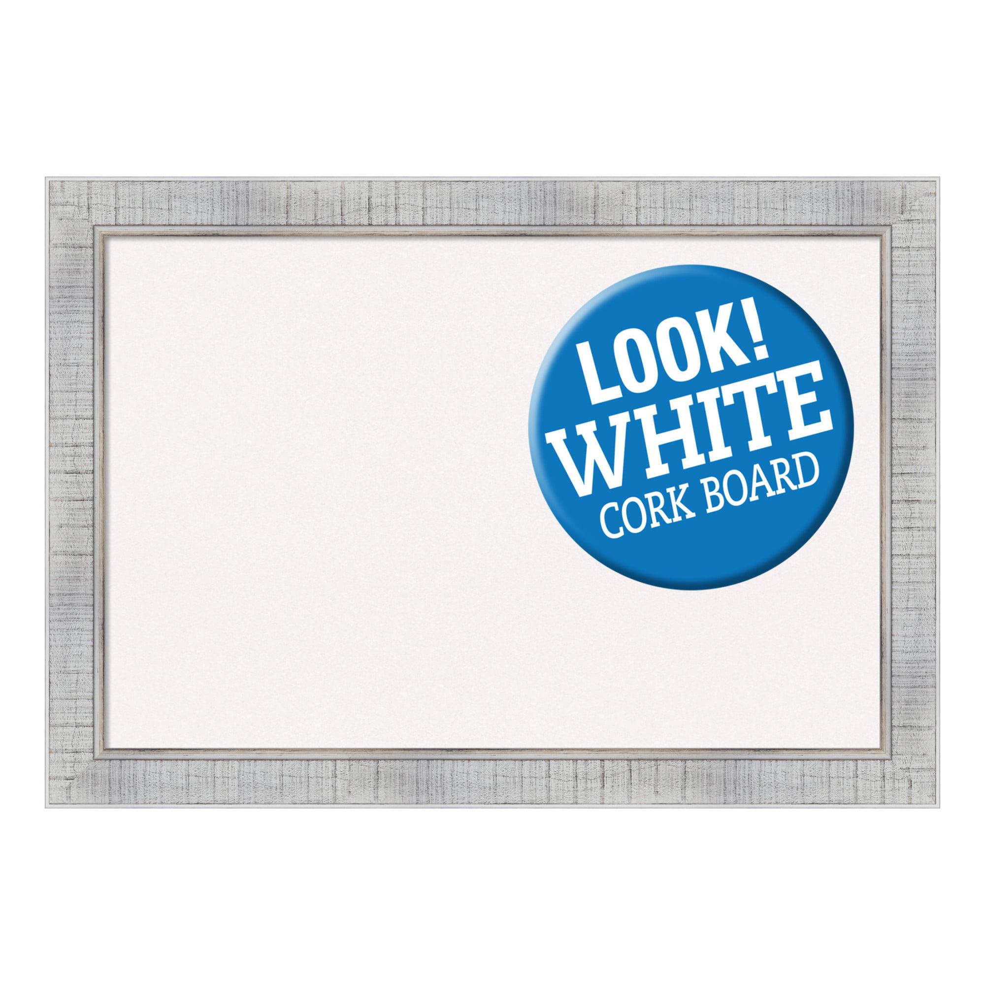 Amanti Art Framed Blue Cork Board, Sonoma White Wash