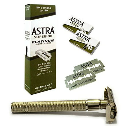 GF-114 Classic Samurai Gift Set,With Classic Samurai Butterfly Twist to Open Double Edge Safety Razor + 100 ASTRA Blades
