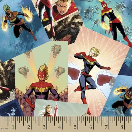 Marvel Captain Marvel Scenes Cotton Fabric By The Yard Marvel Scene It