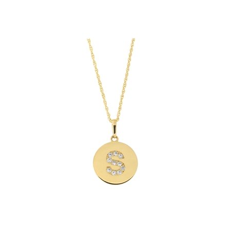 14k Yellow Gold Cubic Zirconia Initial Disc Pendant Necklace, S, 13 inches