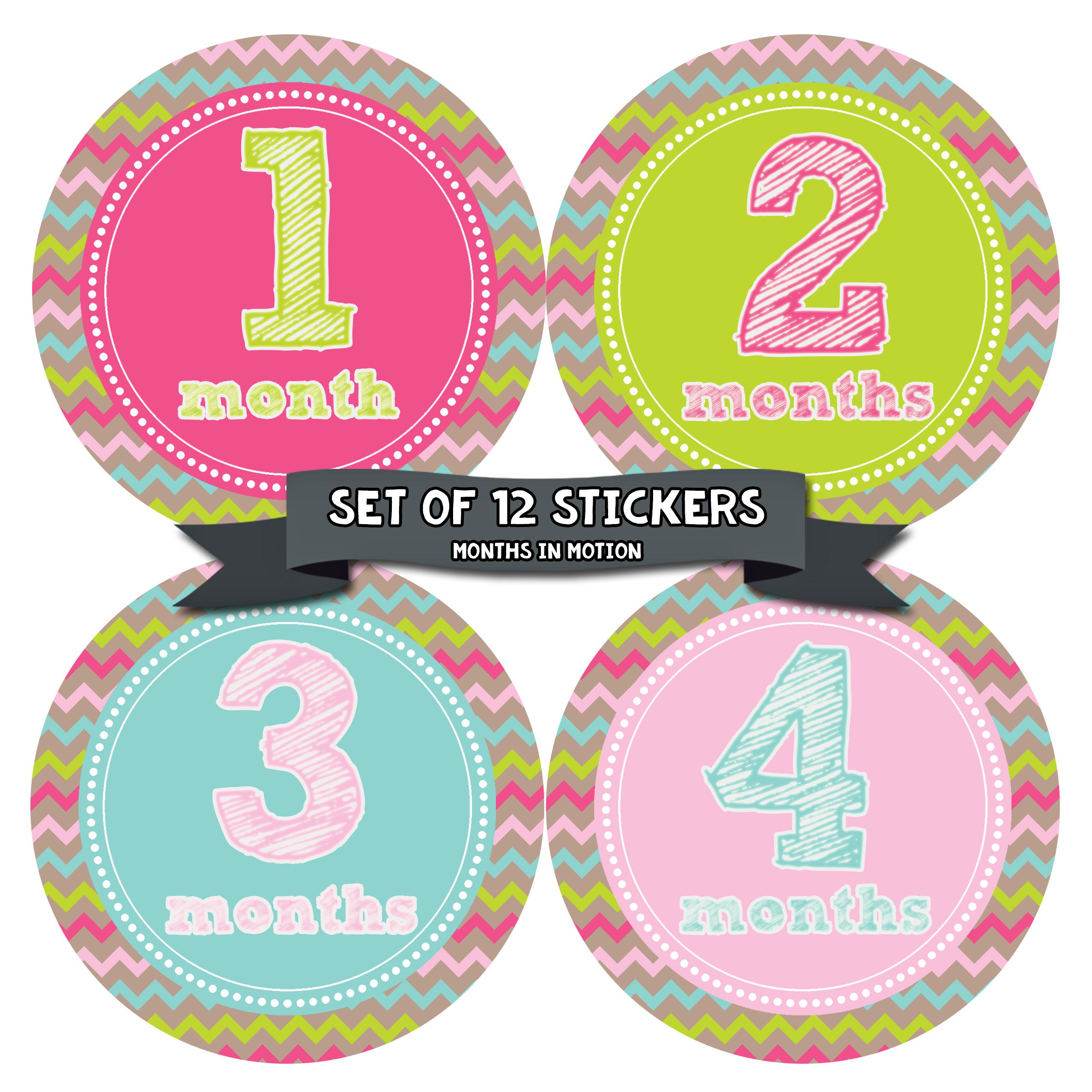 Months in Motion 227 Monthly Baby Stickers Milestone Age Sticker Photo Prop Newborn Girl Chevron- ...