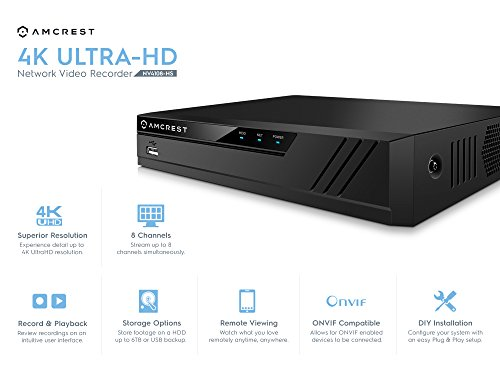 Not Included Amcrest NV4108E-HS 4K 8CH POE NVR Network Video Recorder  6TB HDD