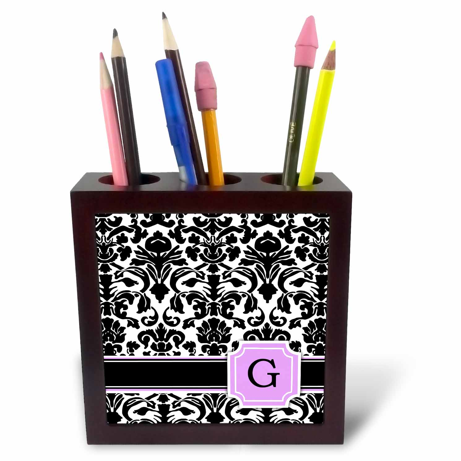 3dRose Personal initial G monogrammed pink black and white damask pattern girly stylish personalized letter, Tile Pen Holder, 5-inch