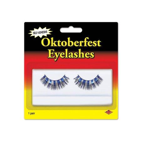 Club Pack of 12 Blue & Silver Oktoberfest Themed Eyelash Costume Accessories
